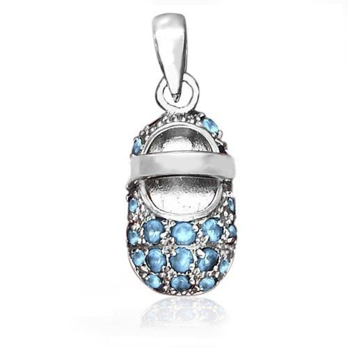Bling Jewelry March Birthstone Aquamarine Color CZ Baby Shoe Charm Pendant Silver Bling Jewelry. $32.99. Rhodium plated sterling silver. Weighs 2 grams. Baby shoe charm pendant. Chain is not included. Aquamarine Color CZ