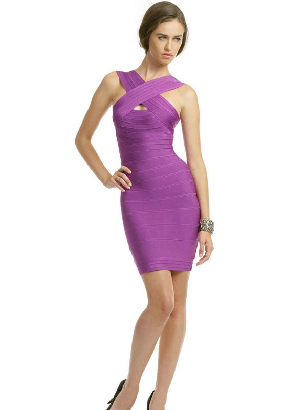 Herve Leger Couture Dress in Purple