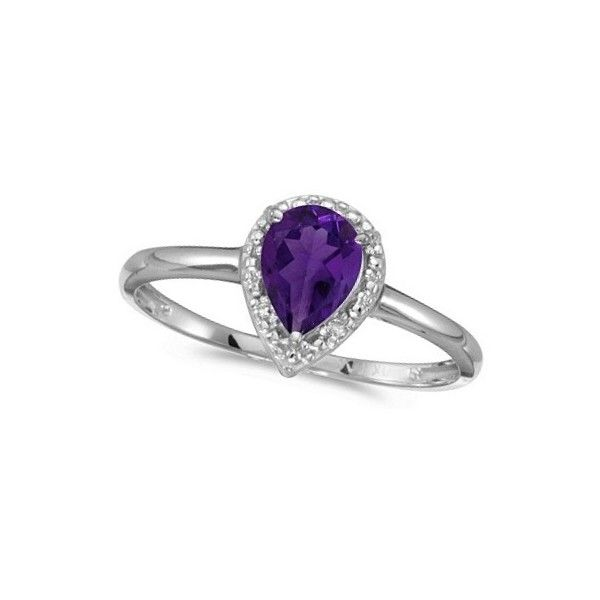 Allurez Pear Shape Amethyst and Diamond Cocktail Ring 14k White Gold ($335) ❤ liked on Polyvore featuring jewelry, rings, purple diamond ring, statement rings, white gold diamond ring, pear cut diamond ring and diamond rings