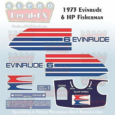 1973 Evinrude 6HP Fisherman Outboard Reproduction 9Pc Marine Vinyl Decal 6302-03