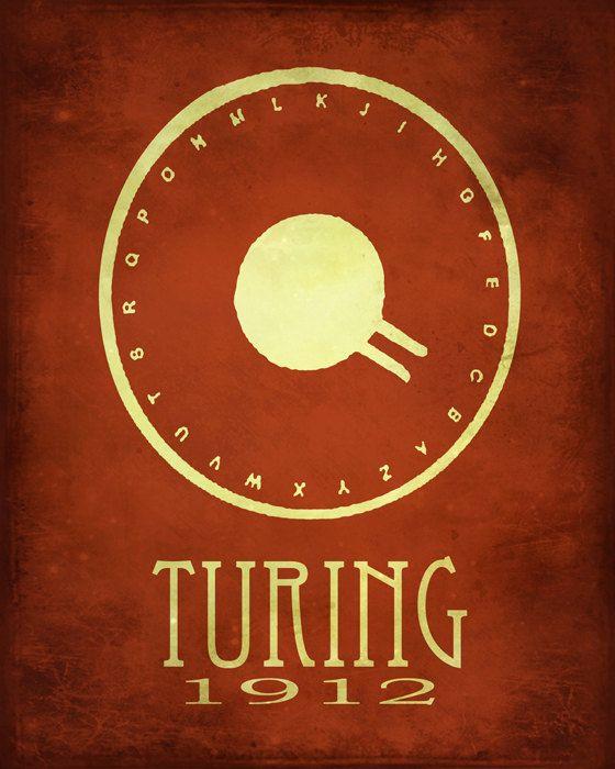 Science Art Poster 8x10 Alan Turing Code Breaker by meganlee