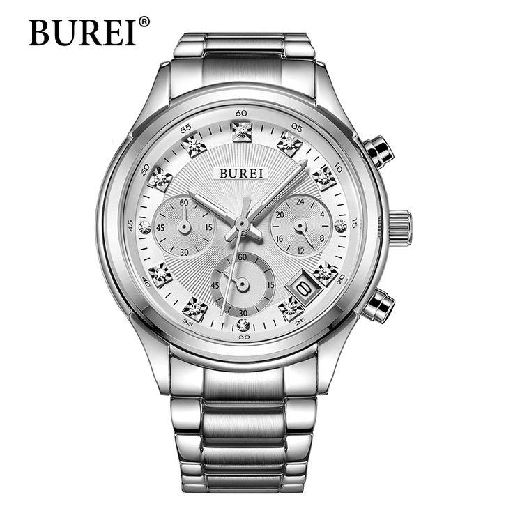 BUREI Women Quartz Wristwatch Ladies Designer Clock Luxury Watches Classic Stainless Steel Date Female Watch Gift