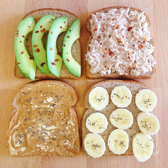 Tuna and avocado or peanut butter and banana. Two sandwiches combining healthy fats and lean protein. Be sure to eat your sandwich on whole grain bread to get in your complex carbs.