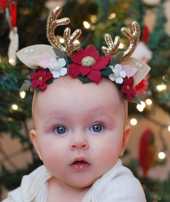 Christmas Headbands For Babies.Reindeer Headband Antlers Christmas Headband Novelty