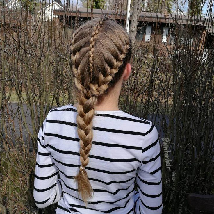 "400 curtidas, 20 comentários - Braids by Varpu Talvitie (@winterhair) no Instagram: ""French braids and 3d round braid into one regular three strand braid. . Ranskalaiset letit ja…"""