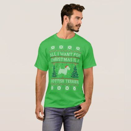 All I Want Christmas Scottish Terrier Ugly Sweater - merry christmas diy xmas present gift idea family holidays