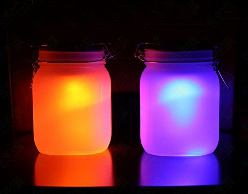 Sun Jar Indoor Outdoor Solar Powered Blue & Orange LED Light