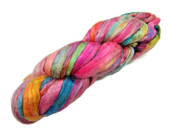 Hand-dyes Mulberry Silk roving, hand dyed (summer breeze)