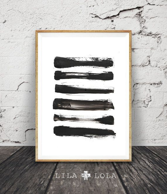 brush stroke print black and white abstract wall art printable instant download modern