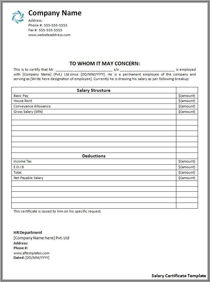 Salary Certificate Template wordstemplates Pinterest - free wage slip template
