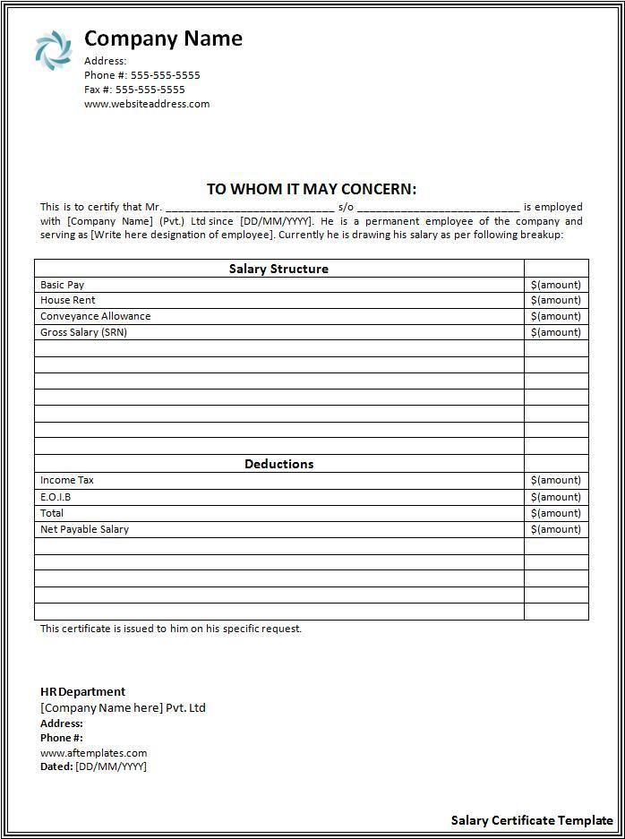 Salary Certificate Template Wordstemplates Certificate Format Certificate Templates Templates
