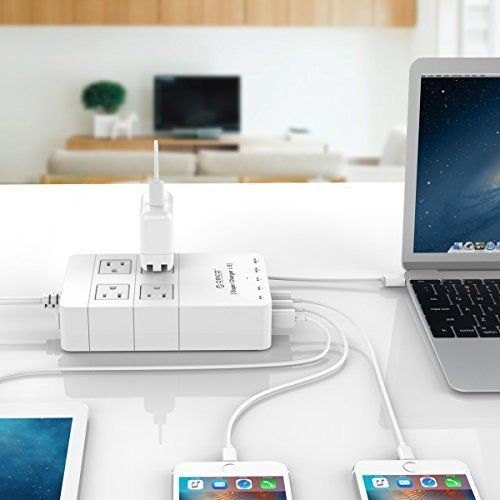 This high-end designed Universal Surge Protector Power Strip has enough power outlets to handle all your devices at once. It features 4 outlets and 5 ports USB super chargers that let you plug in and charge all your essential devices wherever you are. What is more, fireproof material ensures long durability and safety while using.