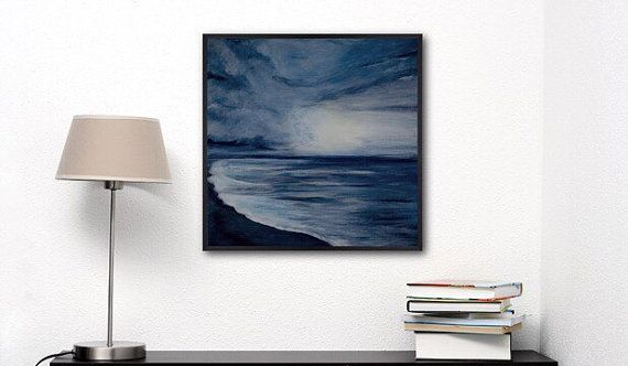 ON SALE Abstract seascape Painting- Gray Painting -Modern Wall Art - Night sky - Ocean Canvas - Gift for her him - Square Canvas art TO BUY: Comment with your email address, and you'll receive a secure checkout link. Price: 117,00 €. Abstract seascape is done in Abstract/Impressionist style on stretched square Canvas. Sky is painted in tones of blue grey to reflect the overcast , Rainy skies. Some beautiful light is reflecting through the clouds which adds drama to the sky. Silent ocean and…