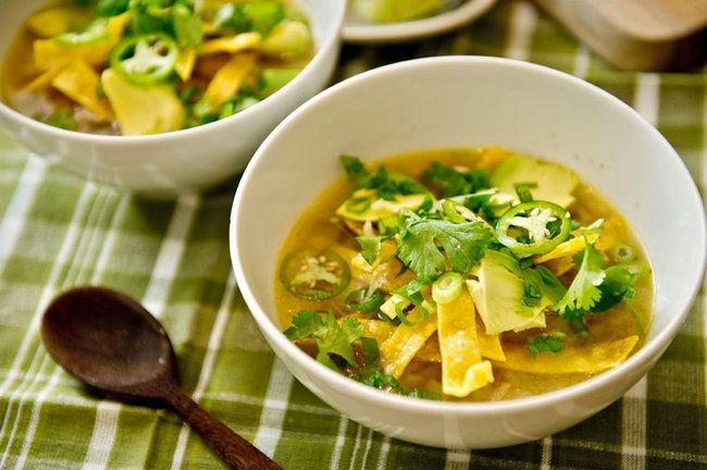 Turkey soup with lime and chiles