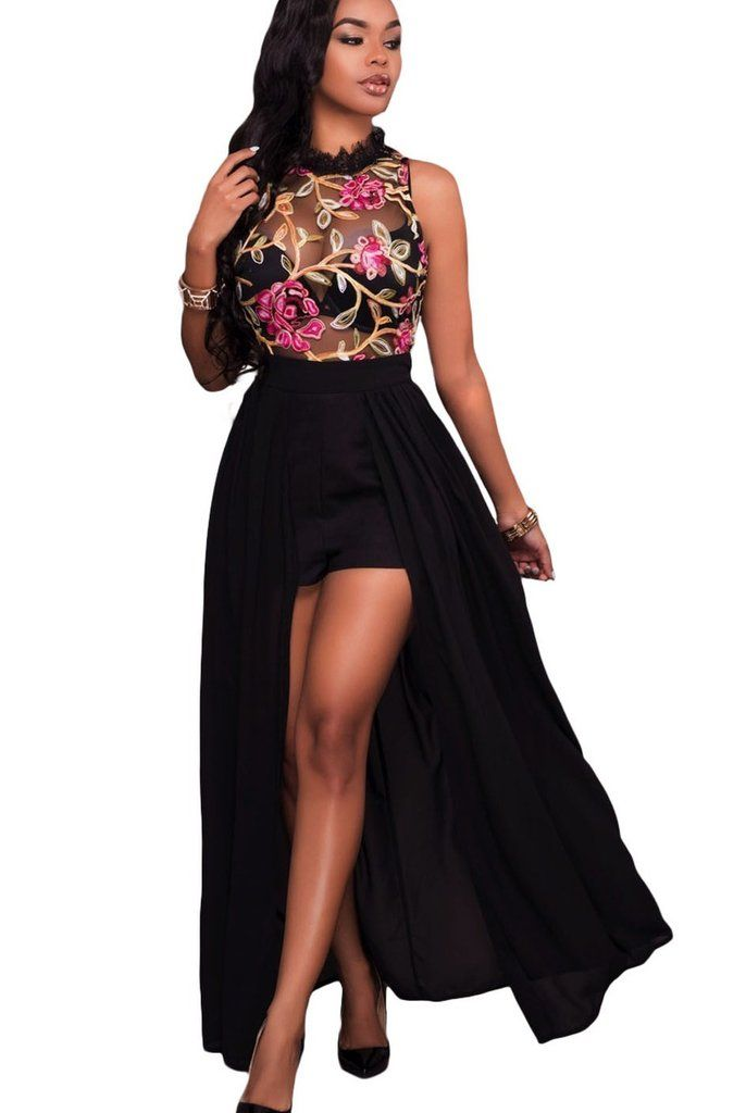 Black Sheer Mesh Floral Embroidery Chiffon Romper Maxi Dress