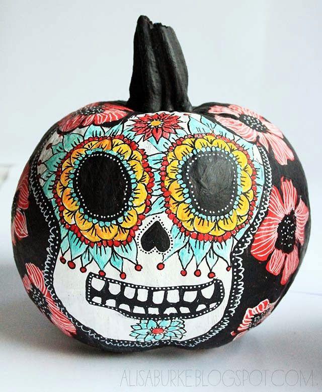 The 25 best skull pumpkin ideas on pinterest sugar skull artist alisa burkes day of the dead painted pumpkin halloween dia de los muertos 2 cultures pronofoot35fo Images