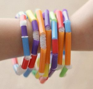 colorful straw beading bracelet Thrifty Kids Summer Crafts: Friendship Bracelet How To