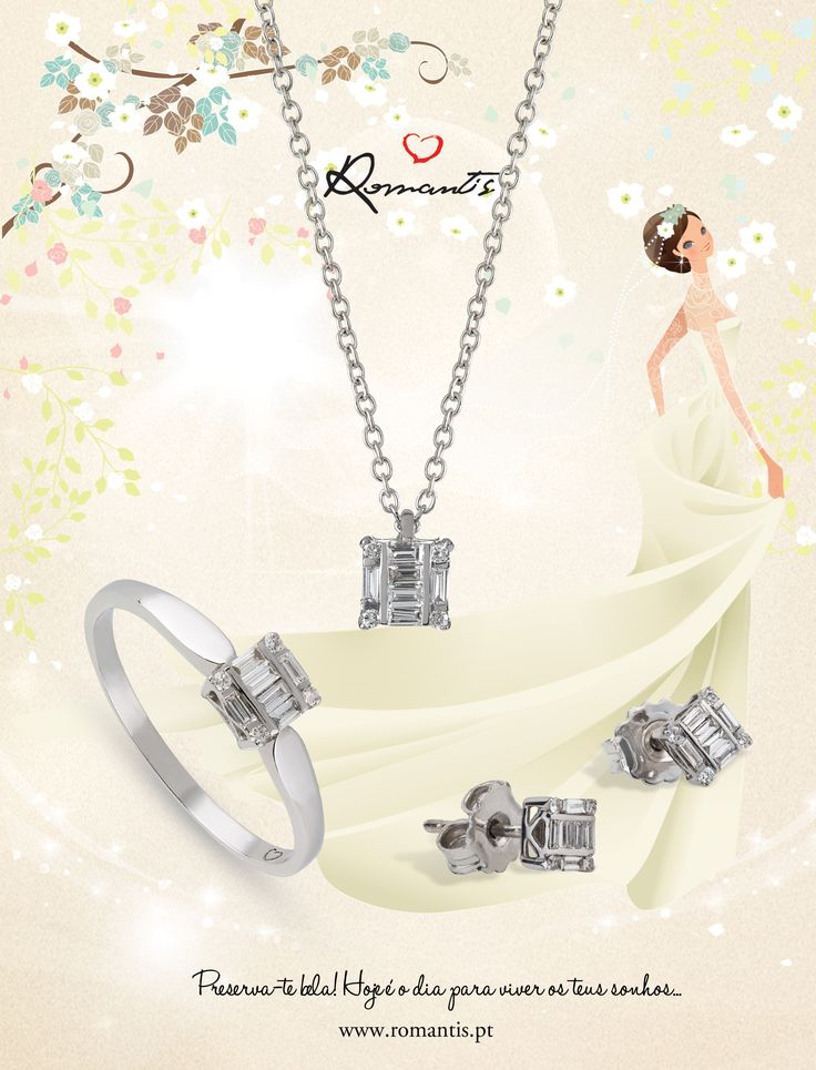Para tornar o look da noiva ainda mais perfeito este verão, a Romantis lançou um novo conjunto da coleção Unique Moments, composto por colar, brincos e anel em ouro branco com cravação de 10 diamantes. Elegância e leveza são os sinónimos do novo conjunto especial Noivas, que se adequa aos vários estilos de vestido de noiva e penteados. #romantis #alianças #aliançasdecasamento #joias #aliançacasamento #verao JOCOR5110B / JOTRR5110B / JOANR5110B