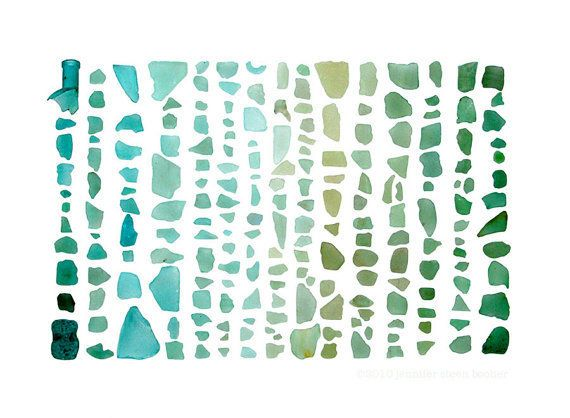 What can I say, I am totally in love with this print. Seaglass Spectrum: Aquamarine to Emerald by QuercusDesign #art #beachglass $20.00