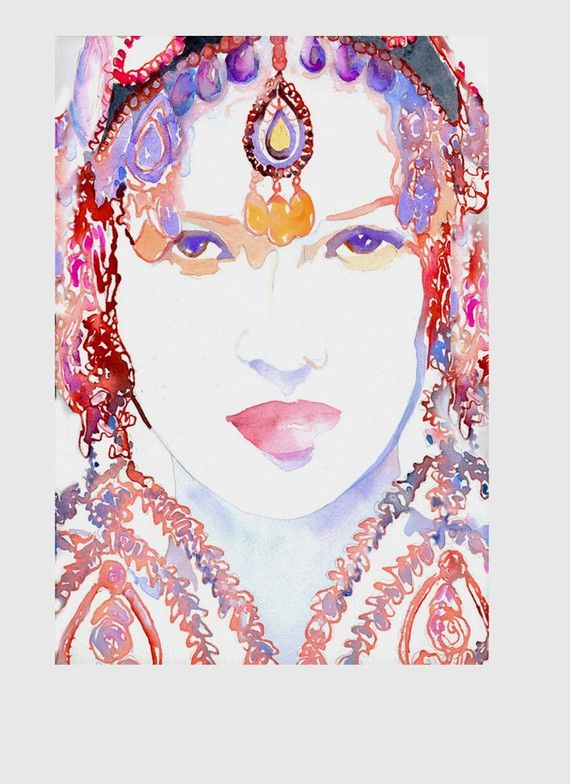 Print of Watercolor Fashion Illustration. Titled - Kate