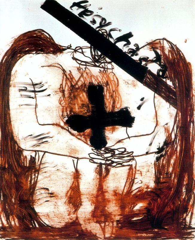 Antoni Tàpies - Hesychasta. (1996) Pintura sobre papel. 157,5 x 130,5 cm