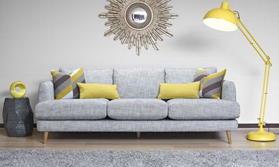 The Bridgett Range from Ashley Manor offers generously sized furnishings with a chique geometric style, Chartreuse colour accents contrasted with cooling greys and the wooden feet gives this collection a contemporary look that fits perfectly into any modern home.  See more here :::: http://bit.ly/Ashley-Manor