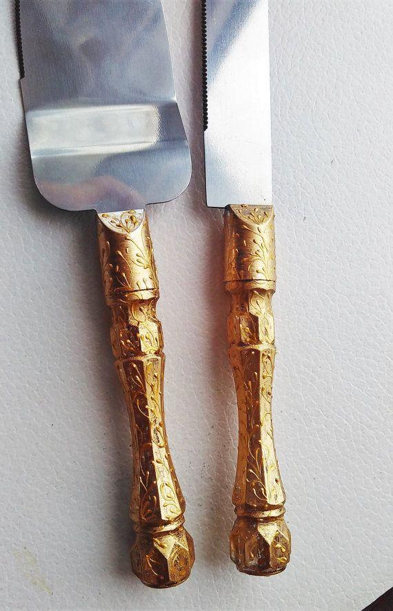 Gold Wedding Cake Server Set Wedding Cake Knife Knife Cake