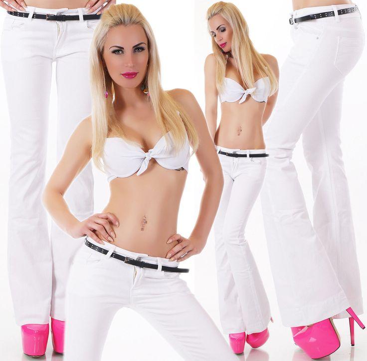Women's Flare White Denim Jeans + Belt - Xs/S/M/L/Xl