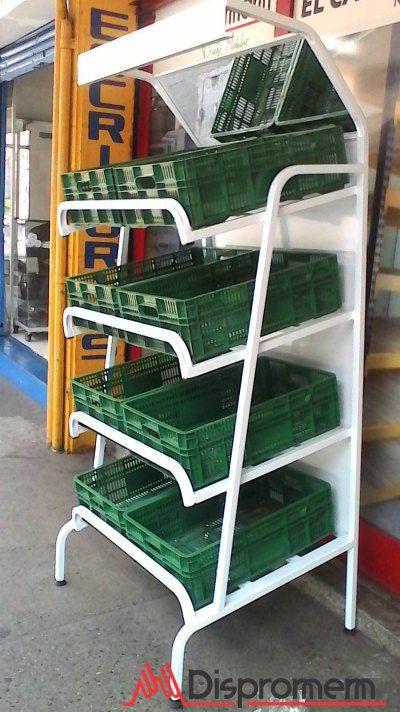 estante de frutas o exhibidor de frutas, utilizado en los fruver, mini mercado y supermercado para el comercio al detal de frutas y verduras.