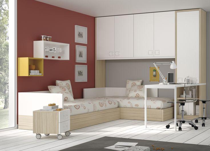 #Dormitorios juveniles y originales, con #camas #compactas y #nidos, de gran capacidad de almacenaje. Escritorios y armarios personalizables y a medida. La solución de #espacio de gran #diseño para los #jóvenes.