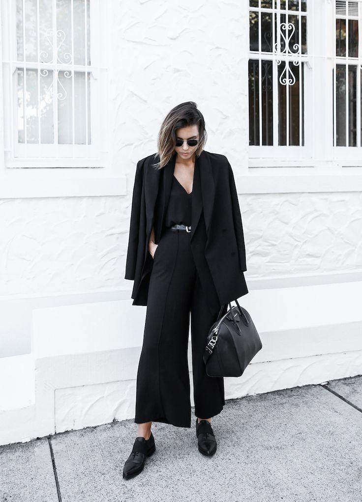 all black street style office work wear inspo suit Givenchy Antigona medium fashion blogger modern legacy, minimal chic     @sommerswim