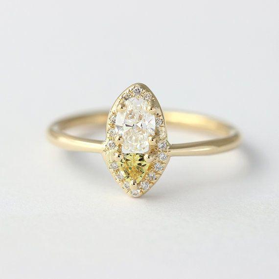 Diamond & Yellow Sapphire Ring  0.3 Carat Oval Diamond  by artemer