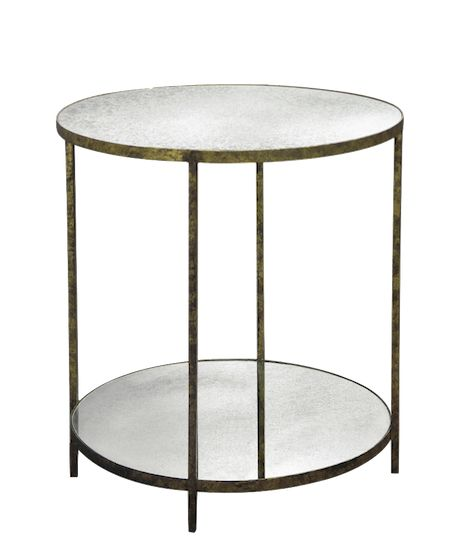 Jonathan Tall Round Table   Iron Base W/Shell Or Reverse Beveled Antiqued Mirror  Top