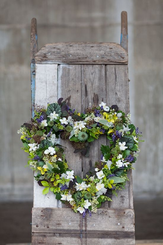Flower Wreath  - Euphoric Flowers heart shaped design for British Flowers Week 2014 using British Flowering Foliage such as cotinus, stachys byzantina, laven... #wreath #heart