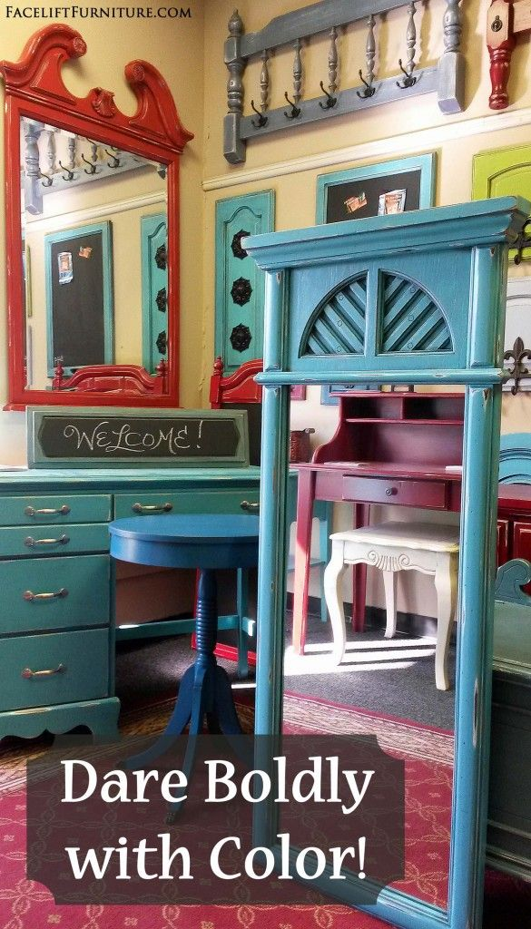 Dare Boldly with Color when Refinishing & Repurposing Furniture! From the Facelift Furniture DIY Blog.