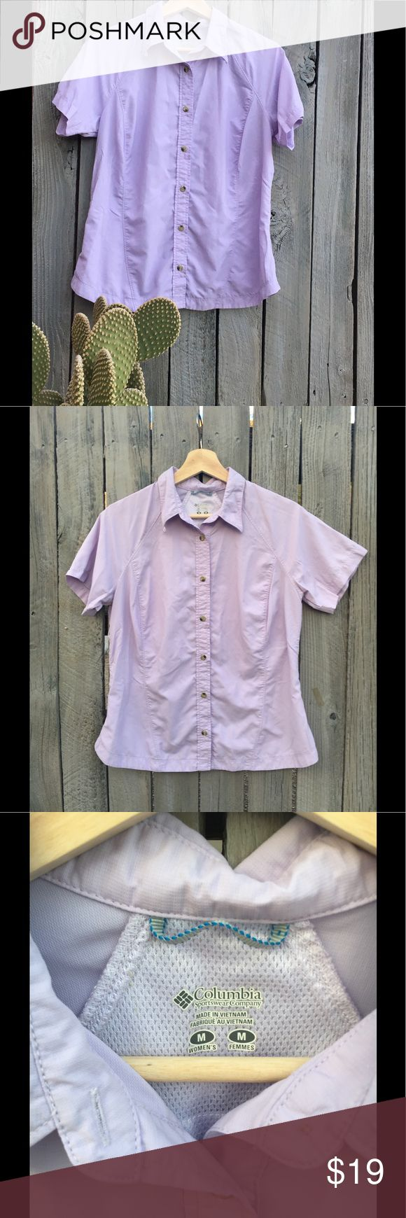 Columbia Sportswear Omni-Dry Women's shirt Light lavender women's Columbia Sportswear Company shirt. Buttons down the front, mesh lining around the neck for ventilation, tapered on the sides for comfort and great style.  Omni-Dry quick evaporation technology. Columbia Tops Button Down Shirts