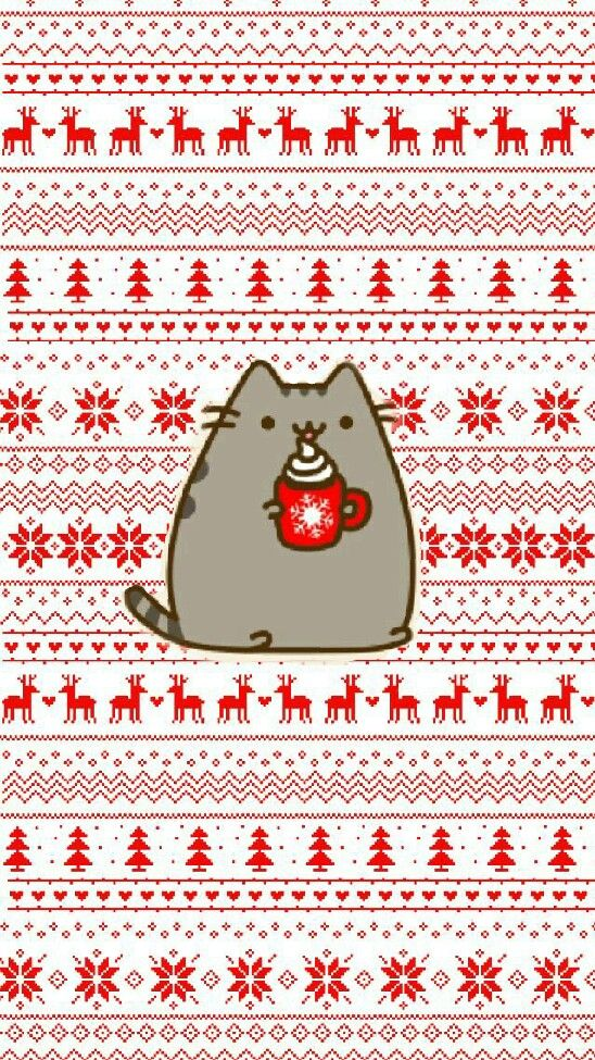 my work❄ #pusheen #christmas #wallpaper #winterpusheen