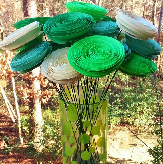 24 Paper Flowers in Mint Green, Lime Green, Kelly Green, Cream - Handmade Rolled Paper Flower Bouquet for Brides, Weddings, Showers