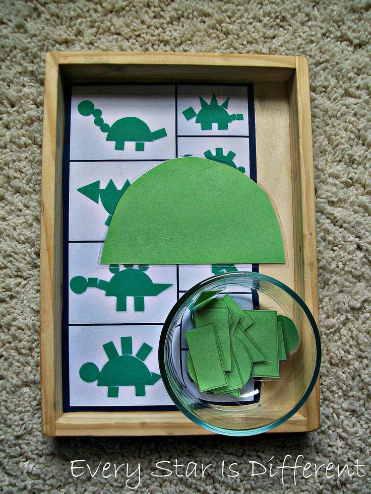 The kiddos will use the shapes provided to make dinosaurs.  I've provided a picture guide, if needed to help initiate the creative process.
