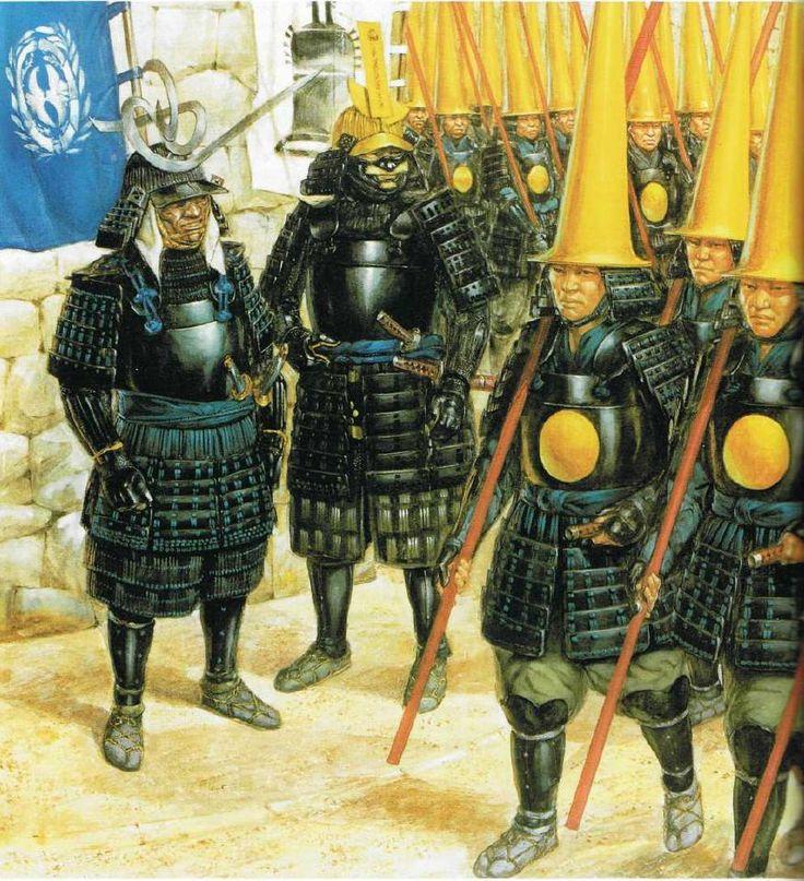 Ashigarus del hatamoto de Date Masamune desfilan por Kyoto camino de Corea (1592). A pesar de ser simples ashigarus, al formar parte de la guardia de Masamune han sido equipados con armaduras de calidad y vistosos elementos decorativos.Más en www.elgrancapitan.org/foro