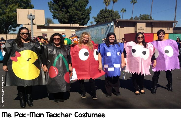 Ms. Pac-Man Halloween costumes for teachers. Easy to make and easy to put on for the after lunch parade. More at teachinginroom6.blogspot.com