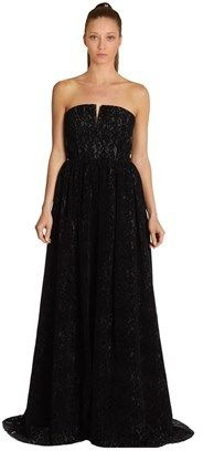 Alice + Olivia Alice & Olivia Axmis Flocked Lace Bustier Gown.