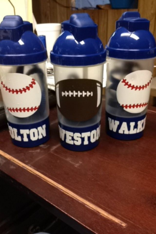 Football And Baseball Diy Cups Made With Cricut Amp Vinyl