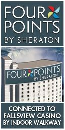 This is the lovely photo-shopped picture of the Four Points Sheraton in Niagra Falls.   Nice hotel, but nowhere near this kind of view.