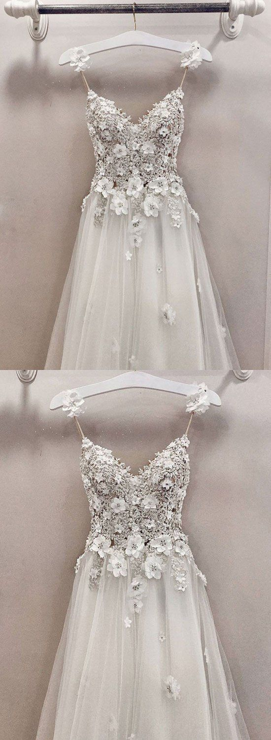 A line v neck lace tulle long prom
