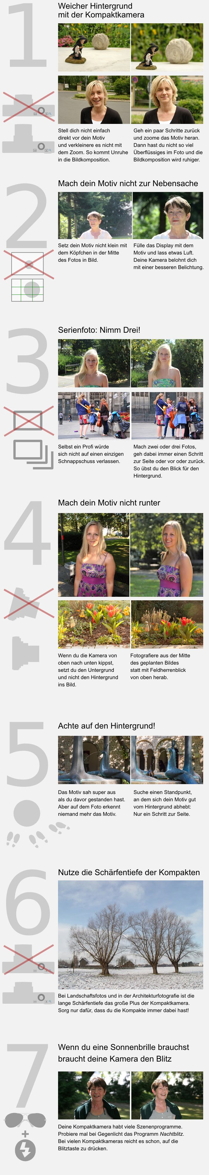 Infografik: Bildgestaltung für Fotos mit der Kompaktkamera  Farbkontrast, Helligkeitskontrast, Größenkontrast.