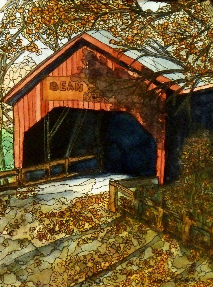"""Fall At The Bridge""  Watercolor & Ink 8"" x 10"""