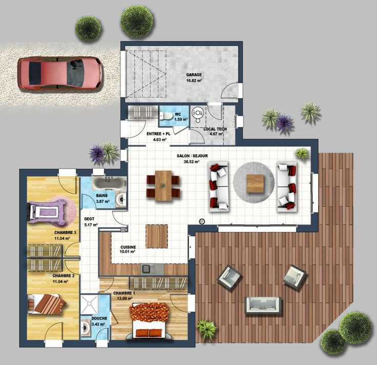 17 Best images about Plan villa on Pinterest House plans, Gaia and - plan maison une chambre