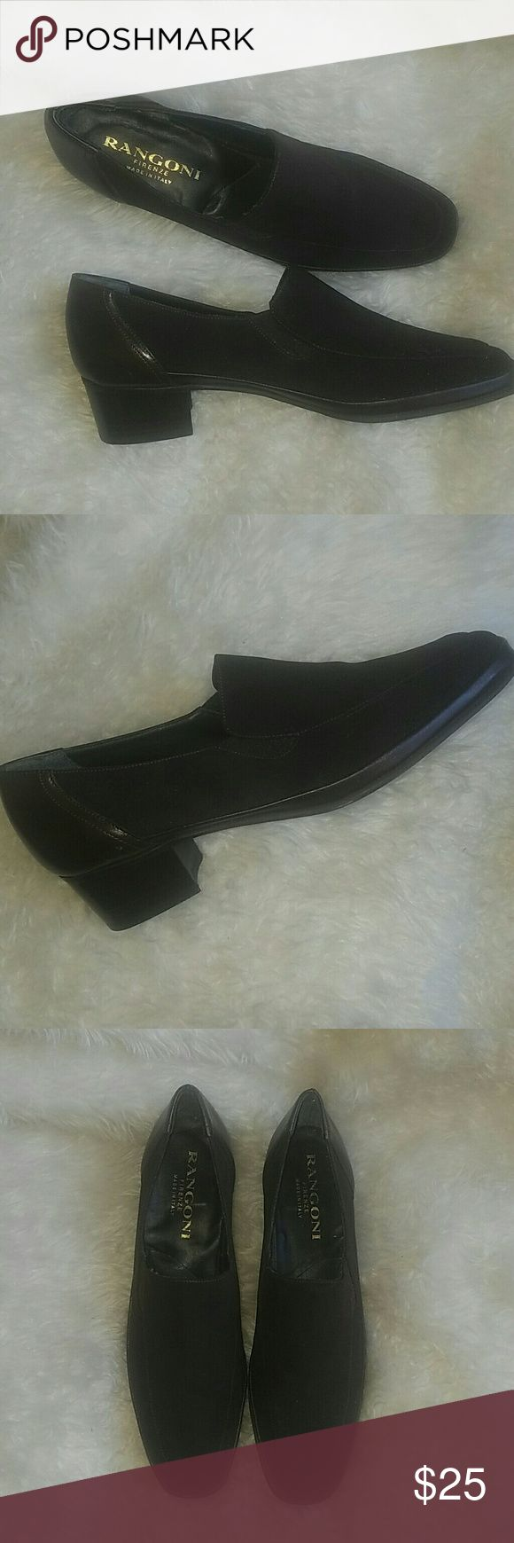 Italian heeled loafers Absolutely gorgeous chocolate brown leather and cloth Italian loafers, worn once. Stored with tissue in toe to keep shape. Rangoni Firenze Shoes Flats & Loafers