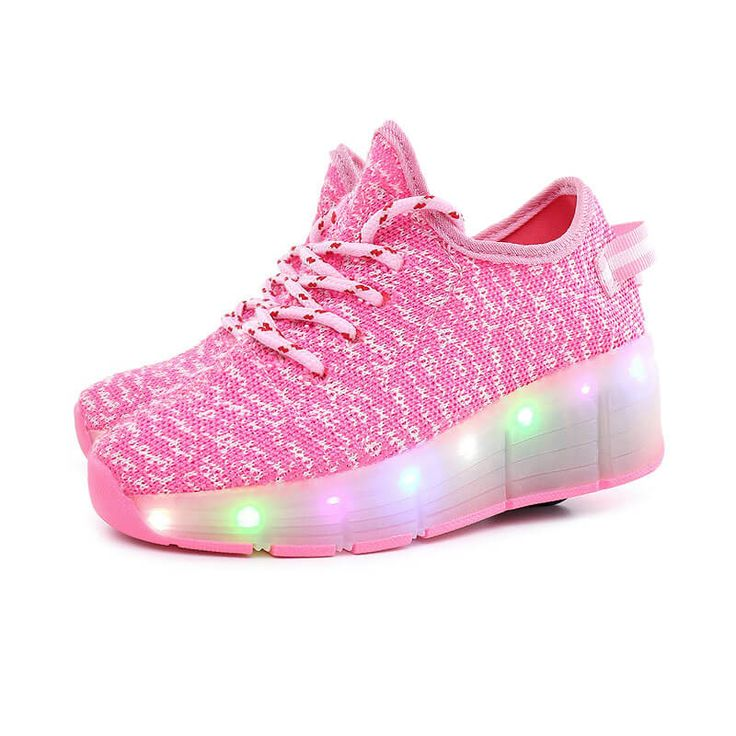 Toddler & Adult's Lace-Up Low-Top Breathable Roller Skate LED Light Sneakers, 48% discount @ PatPat Mom Baby Shopping App